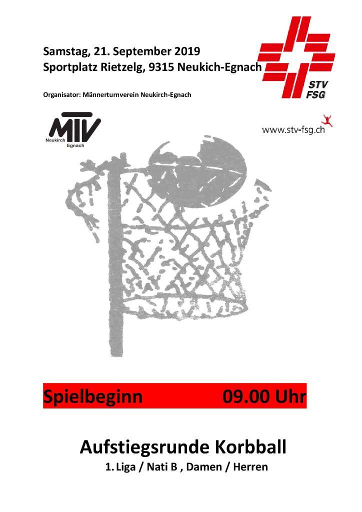 Korbball Aufstiegsrunde 1.Liga/NLB 2019 Morgen Samstag 21.September in Neukirch mit ambitionierter Thurgauer Beteiligung