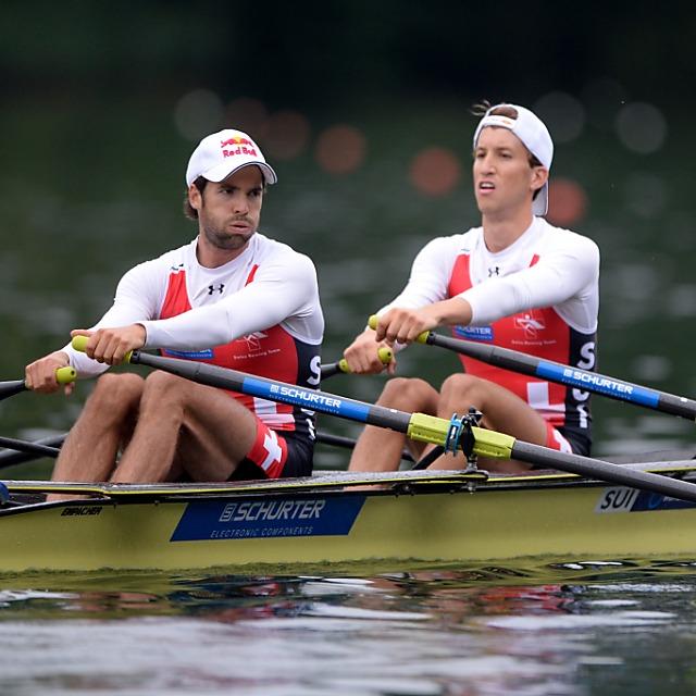 Drei Schweizer Boote auf dem Rotsee im Halbfinal