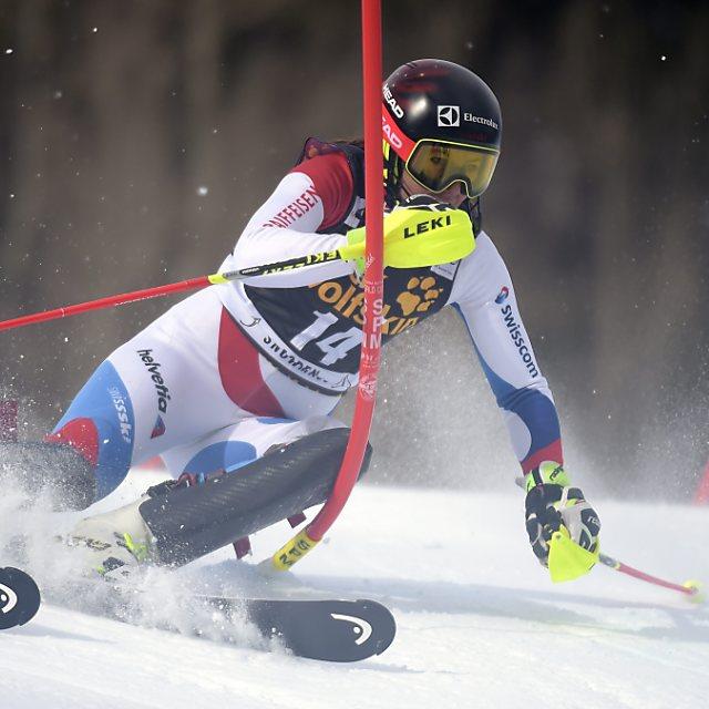 Holdener im Slalom von Kühtai auf dem Podest